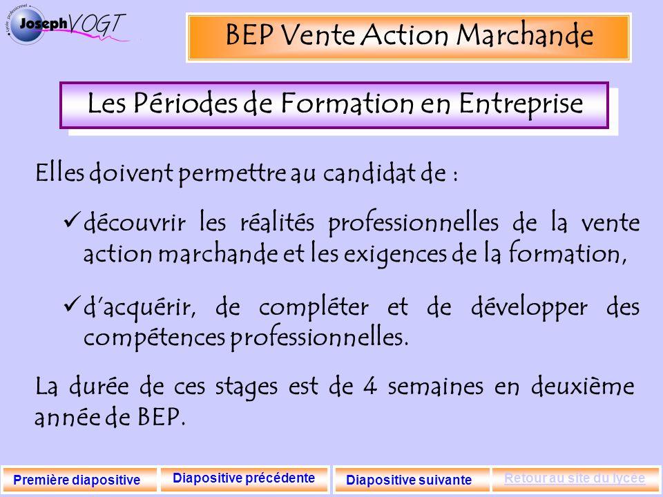 BEP Vente Action Marchande Les Périodes de Formation en Entreprise