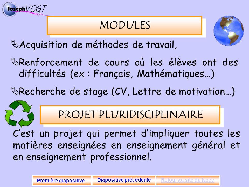 PROJET PLURIDISCIPLINAIRE Diapositive précédente