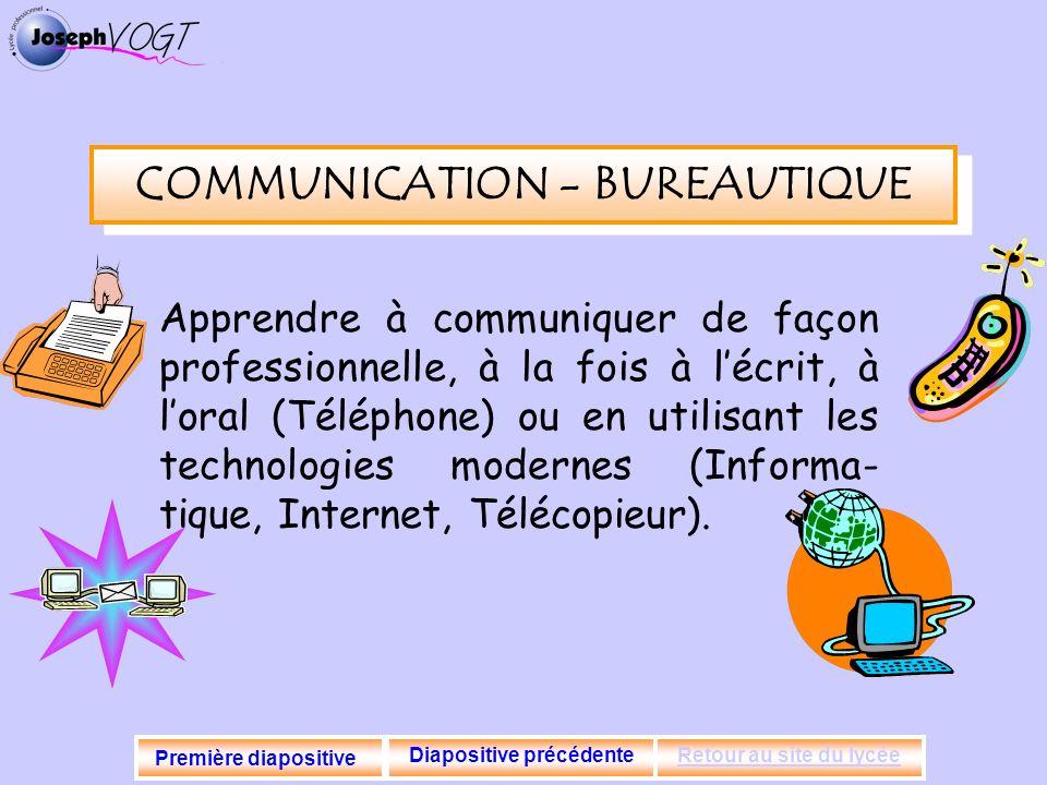 COMMUNICATION - BUREAUTIQUE Diapositive précédente