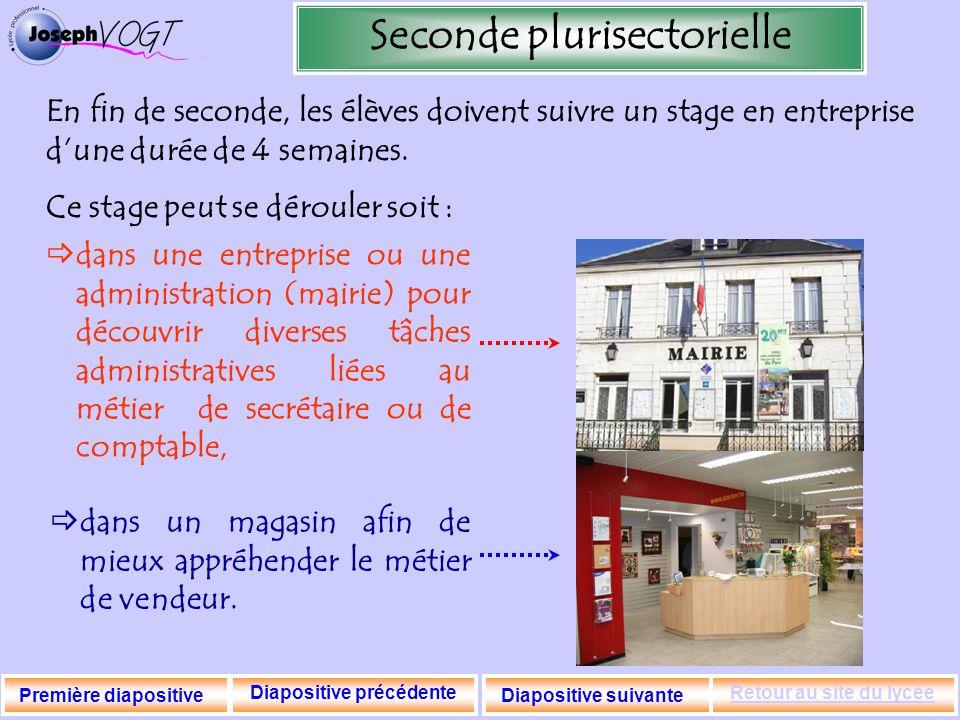 Seconde plurisectorielle Diapositive précédente