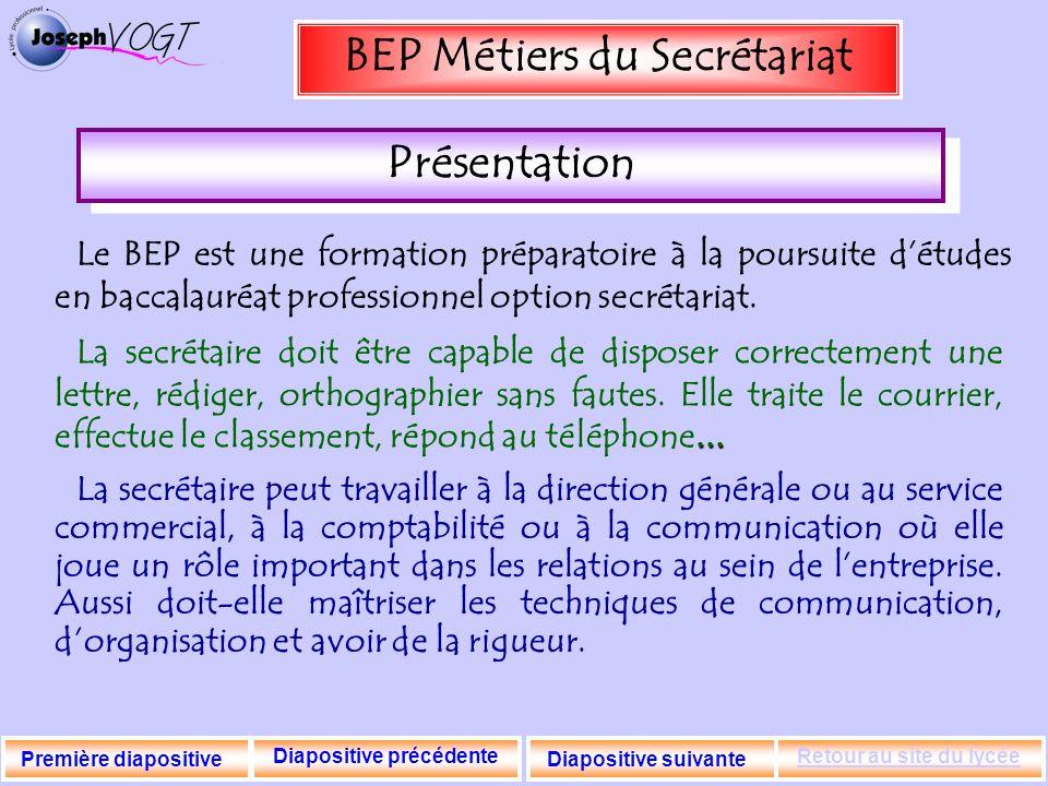 BEP Métiers du Secrétariat Diapositive précédente