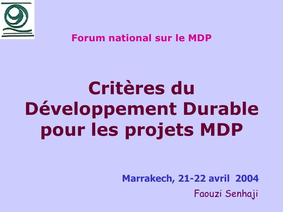 Forum national sur le MDP Critères du Développement Durable pour les projets MDP Marrakech, 21-22 avril 2004 Faouzi Senhaji
