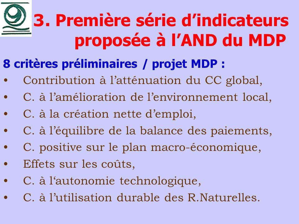 3. Première série d'indicateurs proposée à l'AND du MDP