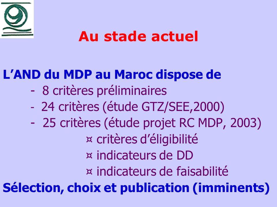 Au stade actuel L'AND du MDP au Maroc dispose de
