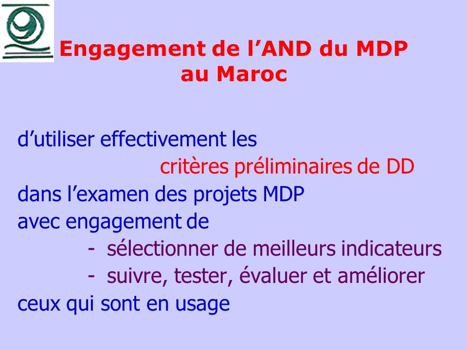 Engagement de l'AND du MDP au Maroc