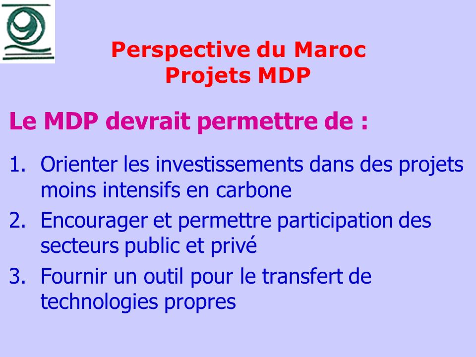 Perspective du Maroc Projets MDP