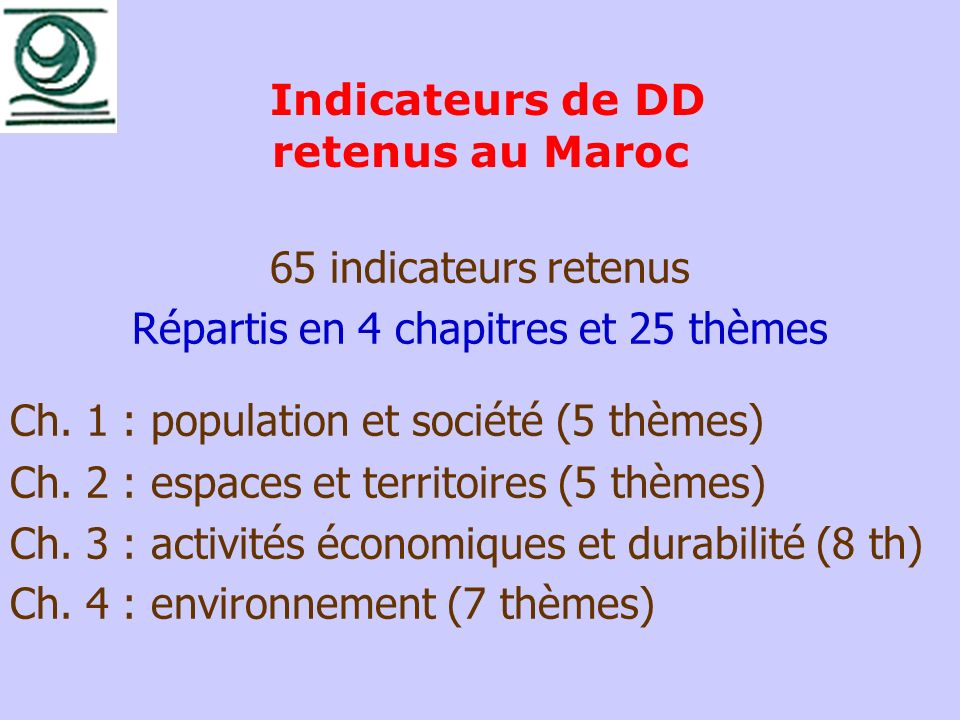 Indicateurs de DD retenus au Maroc