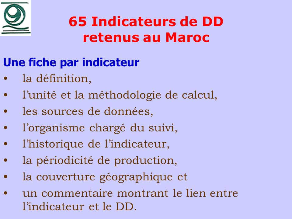 65 Indicateurs de DD retenus au Maroc