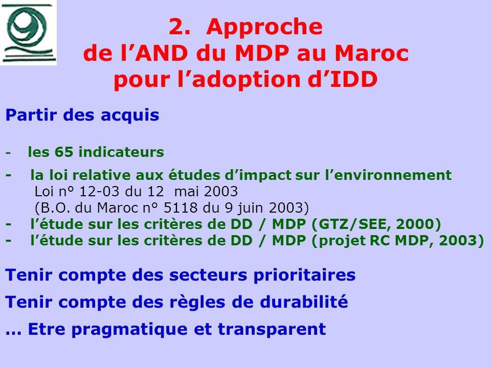 2. Approche de l'AND du MDP au Maroc pour l'adoption d'IDD