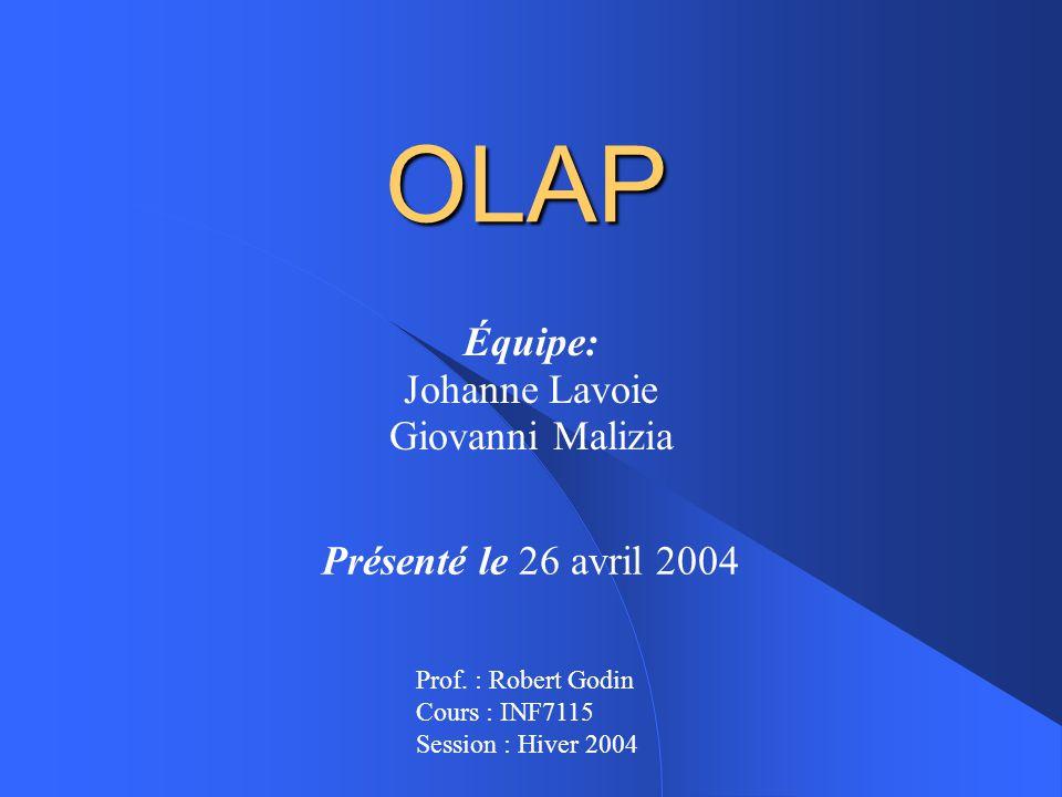OLAP Équipe: Johanne Lavoie Giovanni Malizia Présenté le 26 avril 2004