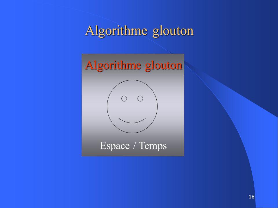 Algorithme glouton Algorithme glouton Espace / Temps