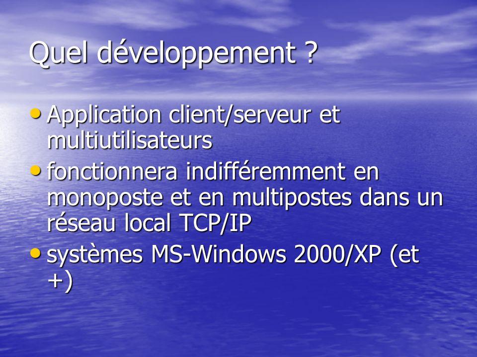 Quel développement Application client/serveur et multiutilisateurs