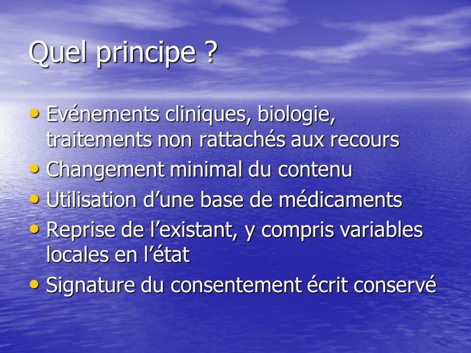 Quel principe Evénements cliniques, biologie, traitements non rattachés aux recours. Changement minimal du contenu.
