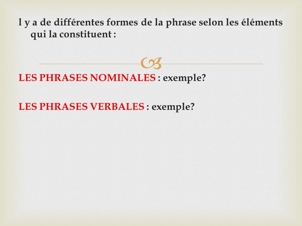 l y a de différentes formes de la phrase selon les éléments qui la constituent : LES PHRASES NOMINALES : exemple.