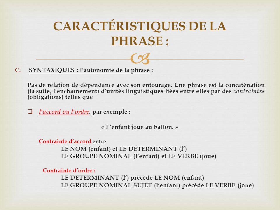 CARACTÉRISTIQUES DE LA PHRASE :