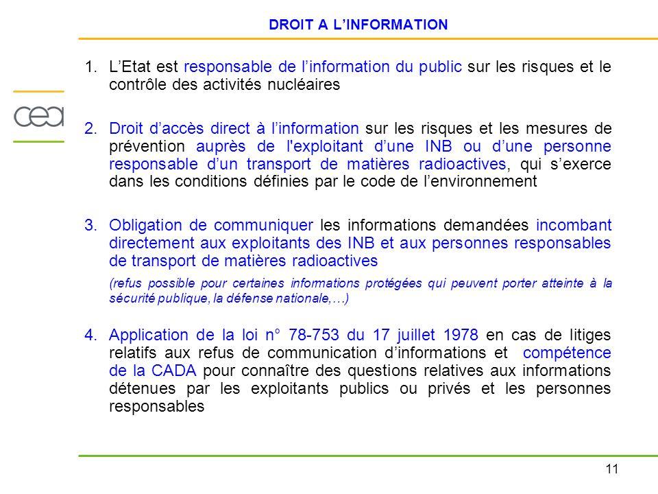 DROIT A L'INFORMATION L'Etat est responsable de l'information du public sur les risques et le contrôle des activités nucléaires.