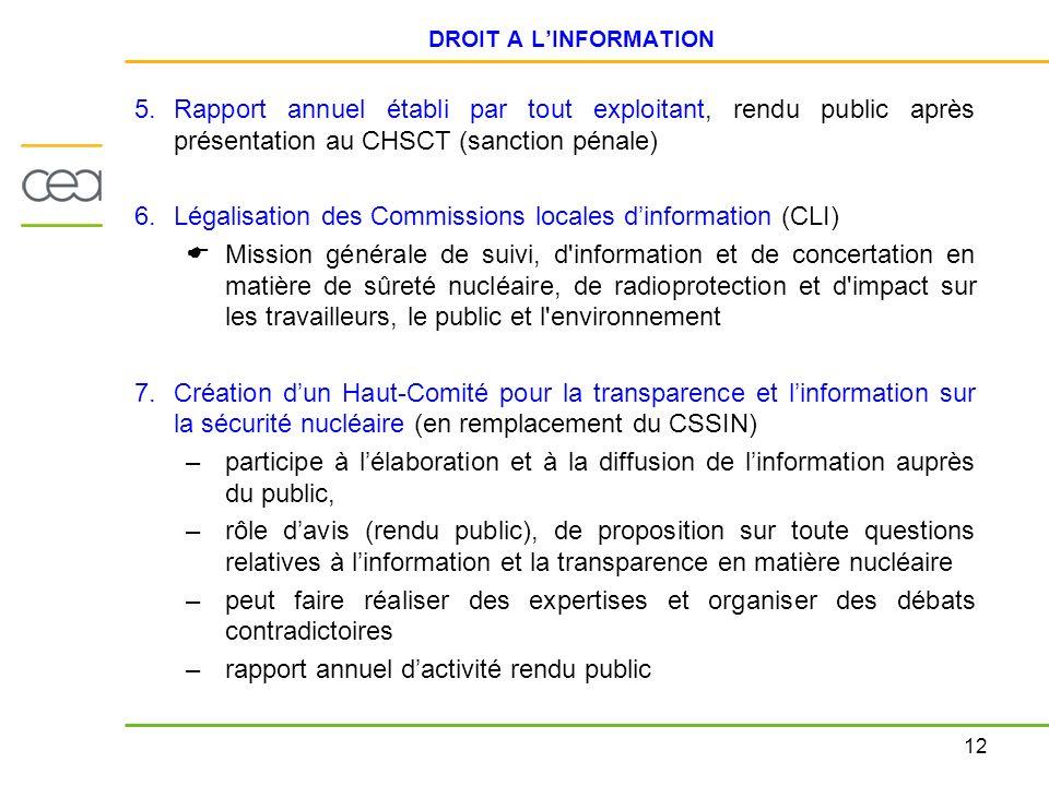 Légalisation des Commissions locales d'information (CLI)