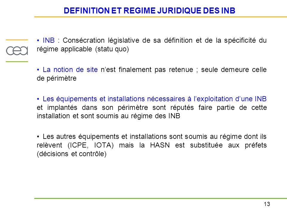 DEFINITION ET REGIME JURIDIQUE DES INB
