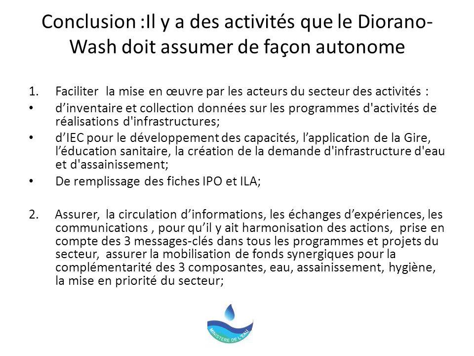 Conclusion :Il y a des activités que le Diorano-Wash doit assumer de façon autonome