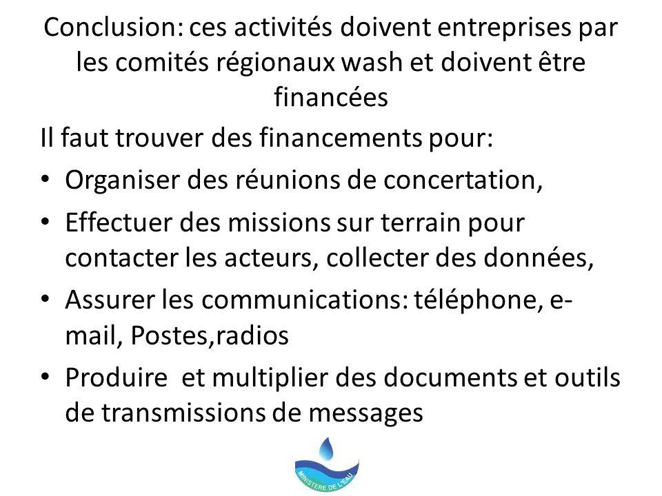Conclusion: ces activités doivent entreprises par les comités régionaux wash et doivent être financées