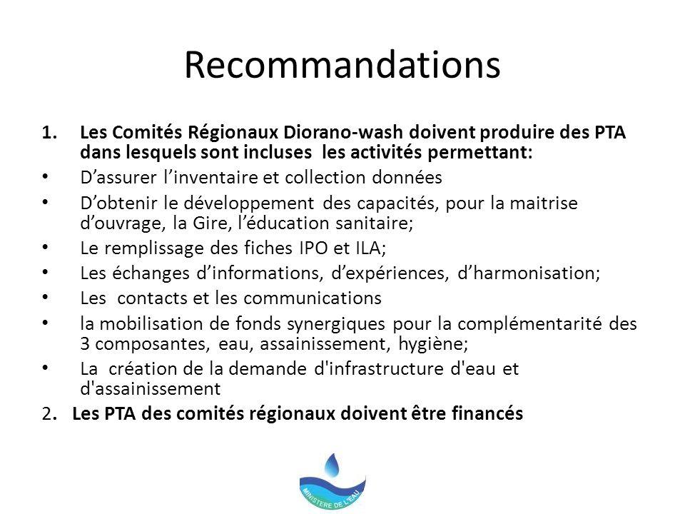 Recommandations Les Comités Régionaux Diorano-wash doivent produire des PTA dans lesquels sont incluses les activités permettant: