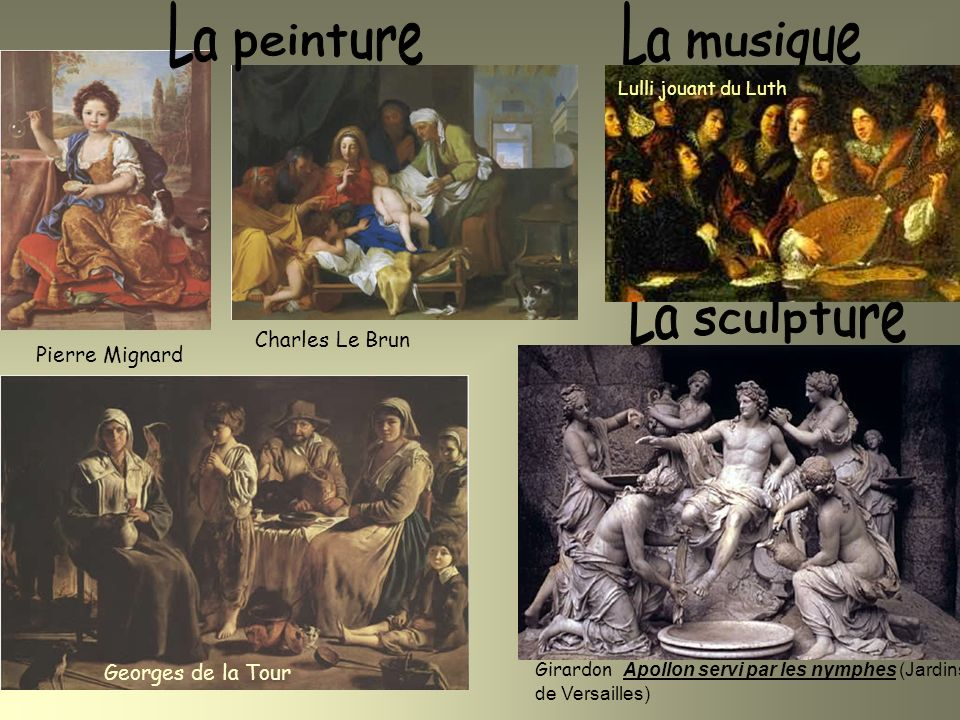 La peinture La musique La sculpture Charles Le Brun Pierre Mignard