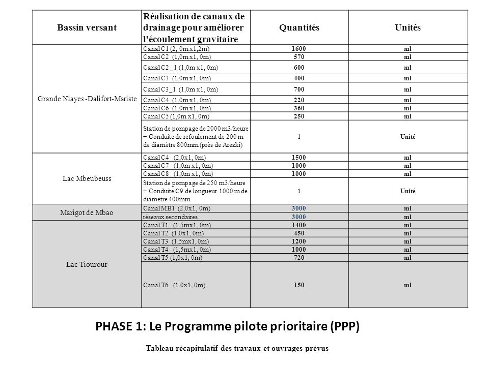 PHASE 1: Le Programme pilote prioritaire (PPP)