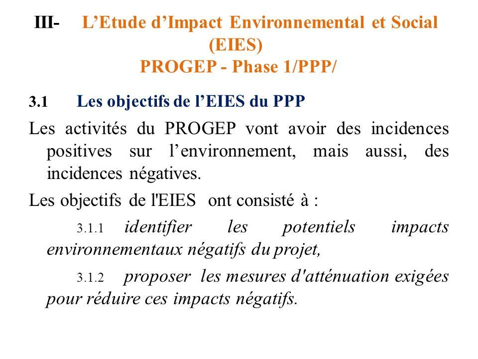 Les objectifs de l EIES ont consisté à :
