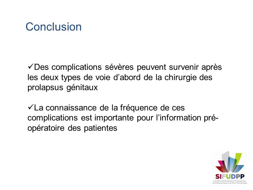 Conclusion Des complications sévères peuvent survenir après les deux types de voie d'abord de la chirurgie des prolapsus génitaux.