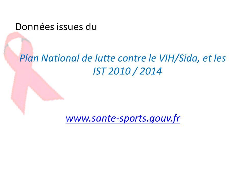Données issues du Plan National de lutte contre le VIH/Sida, et les IST 2010 / 2014 www.sante-sports.gouv.fr