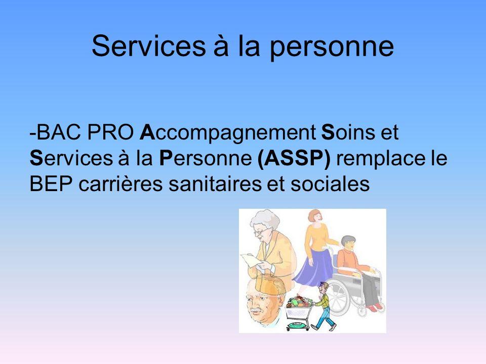 Services à la personne -BAC PRO Accompagnement Soins et Services à la Personne (ASSP) remplace le BEP carrières sanitaires et sociales.