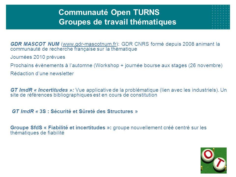 Communauté Open TURNS Groupes de travail thématiques