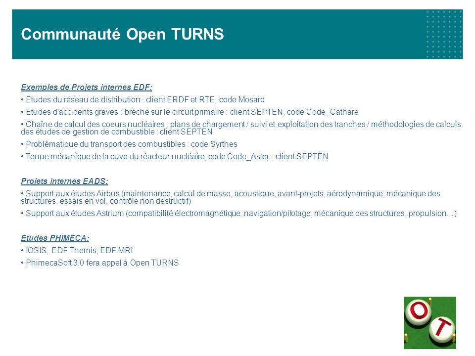 Communauté Open TURNS Exemples de Projets internes EDF: