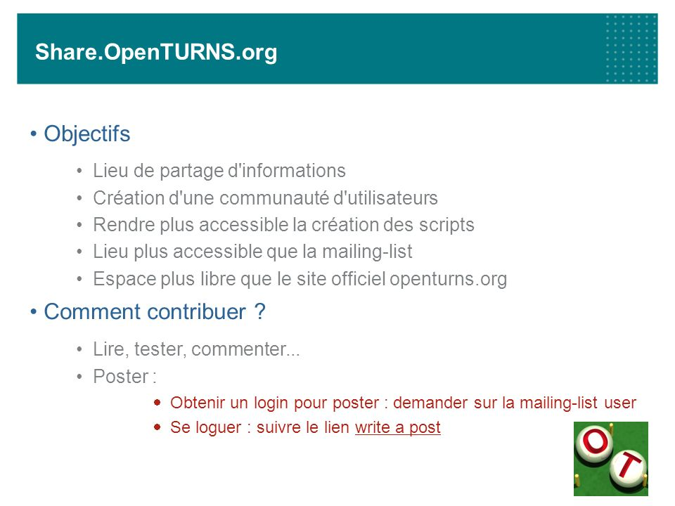 Share.OpenTURNS.org Objectifs Comment contribuer