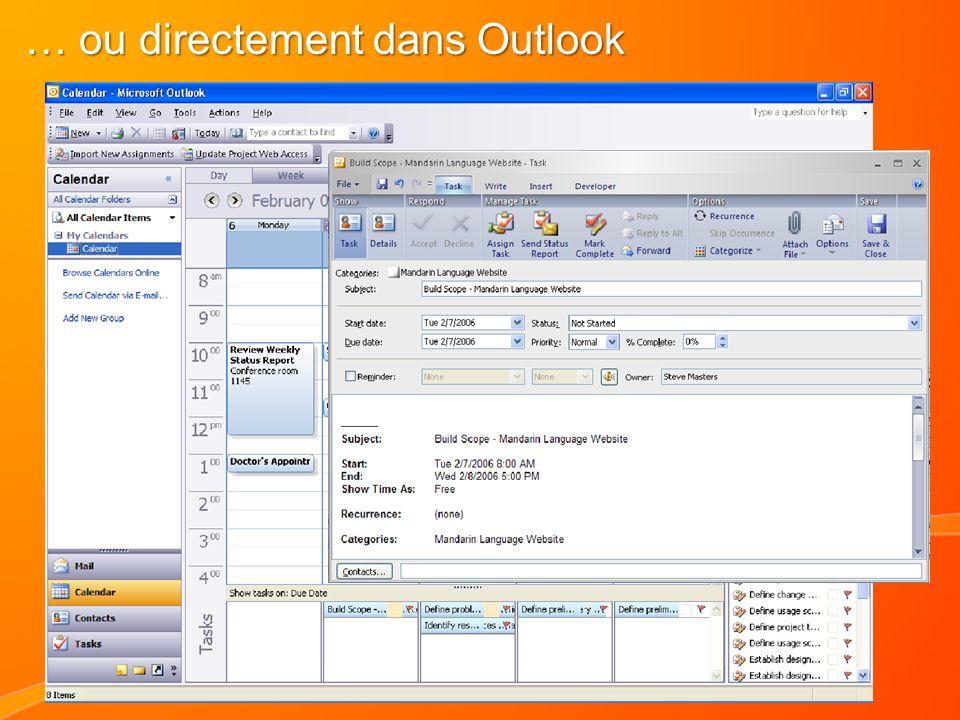 … ou directement dans Outlook
