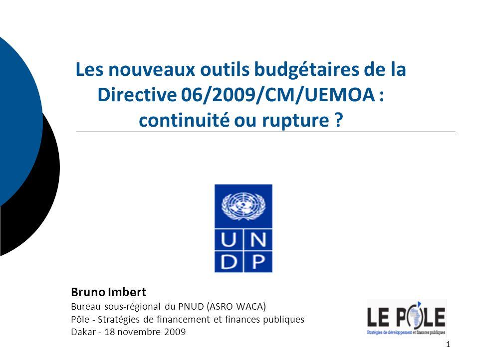 Les nouveaux outils budgétaires de la Directive 06/2009/CM/UEMOA : continuité ou rupture