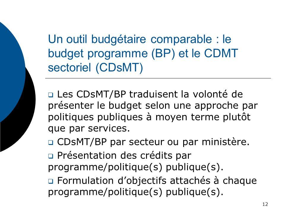 Un outil budgétaire comparable : le budget programme (BP) et le CDMT sectoriel (CDsMT)