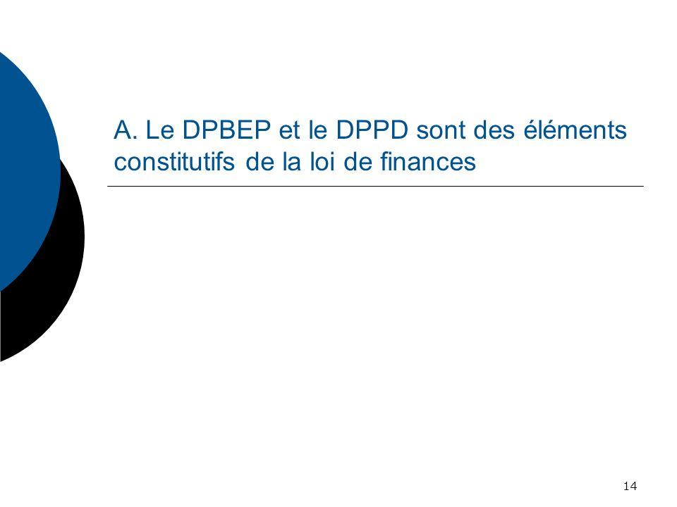A. Le DPBEP et le DPPD sont des éléments constitutifs de la loi de finances