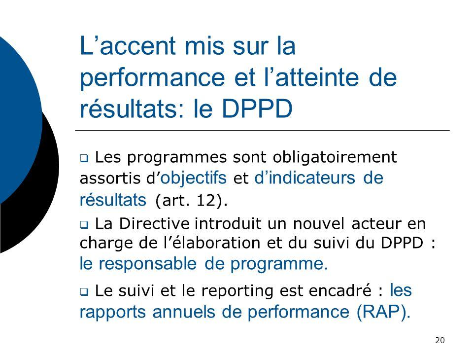 L'accent mis sur la performance et l'atteinte de résultats: le DPPD
