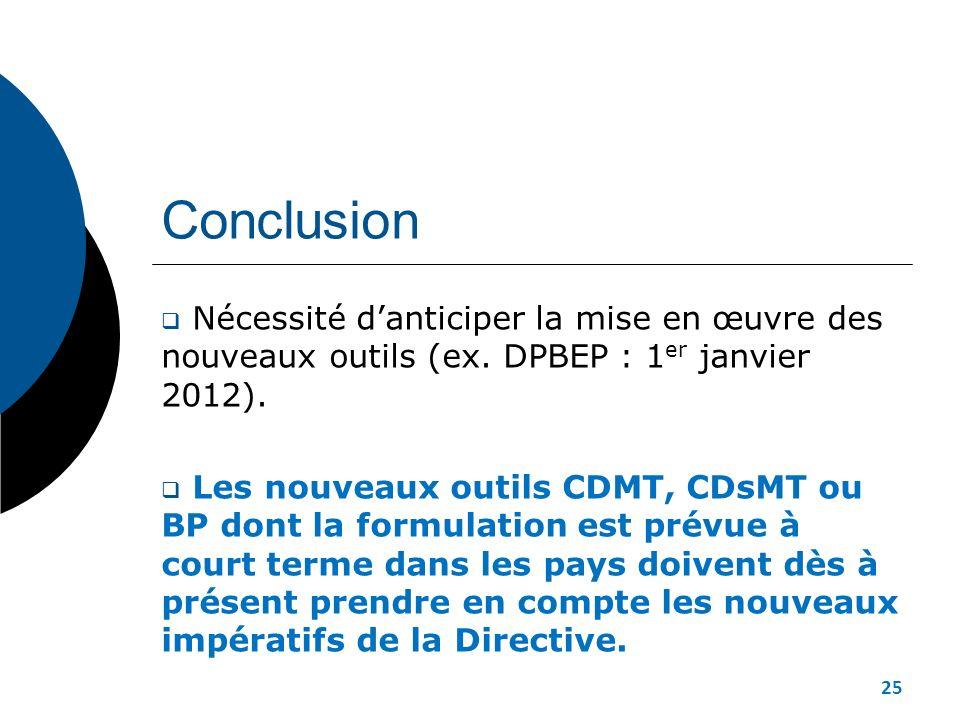Conclusion Nécessité d'anticiper la mise en œuvre des nouveaux outils (ex. DPBEP : 1er janvier 2012).