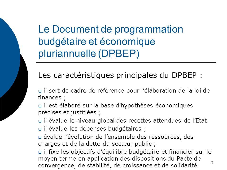 Le Document de programmation budgétaire et économique pluriannuelle (DPBEP)