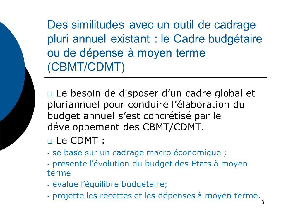 Des similitudes avec un outil de cadrage pluri annuel existant : le Cadre budgétaire ou de dépense à moyen terme (CBMT/CDMT)