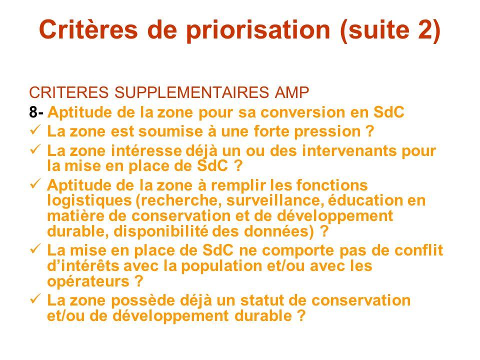 Critères de priorisation (suite 2)
