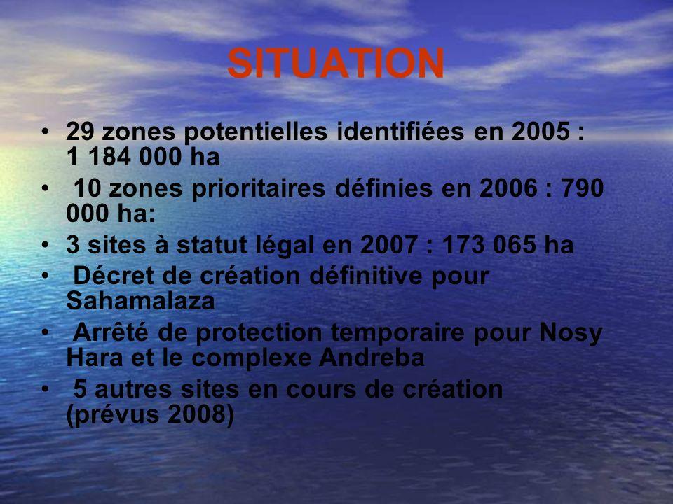 SITUATION 29 zones potentielles identifiées en 2005 : 1 184 000 ha