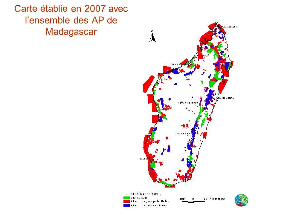 Carte établie en 2007 avec l'ensemble des AP de Madagascar