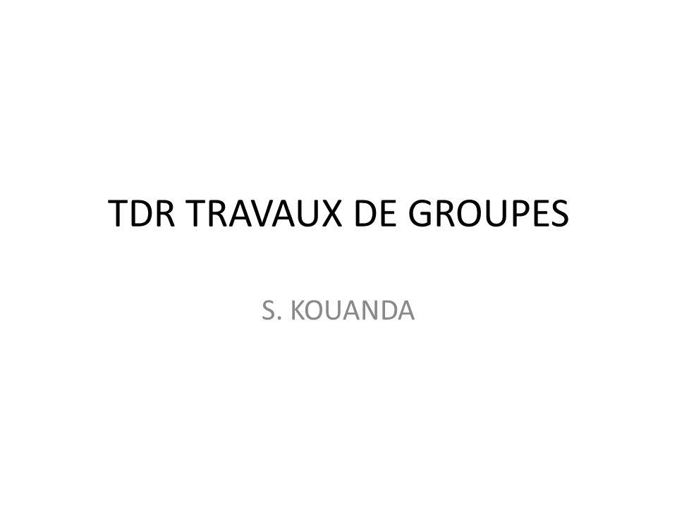 TDR TRAVAUX DE GROUPES S. KOUANDA