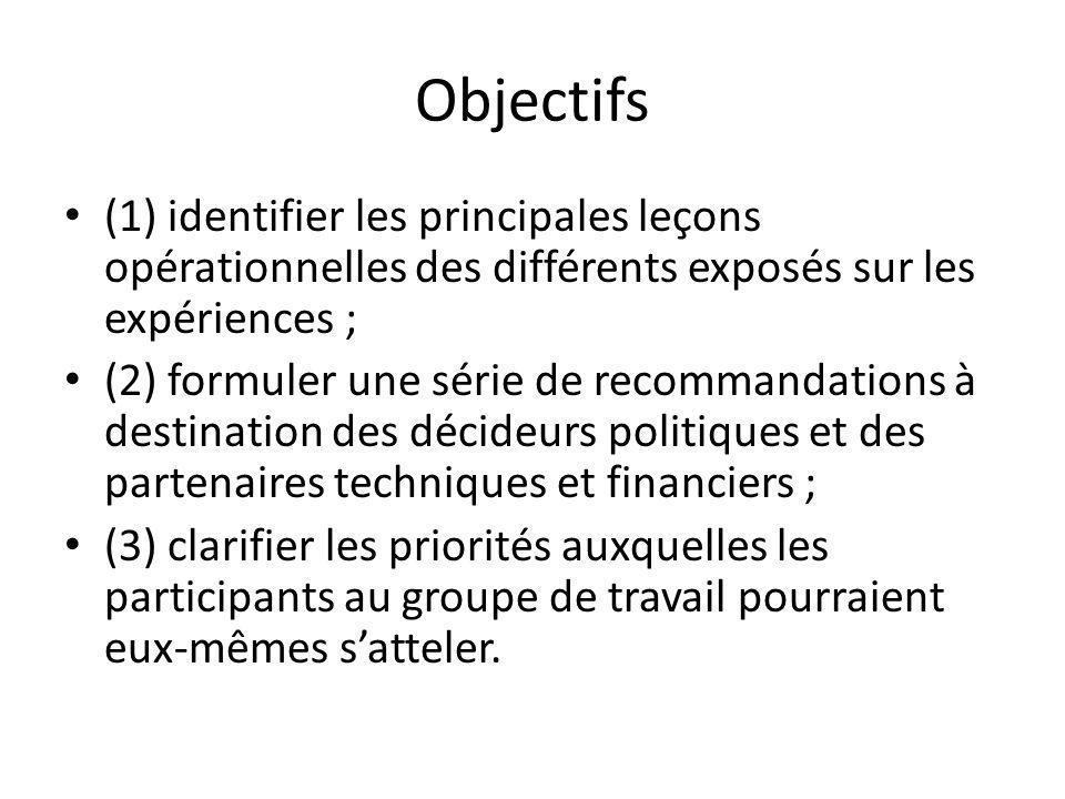 Objectifs (1) identifier les principales leçons opérationnelles des différents exposés sur les expériences ;