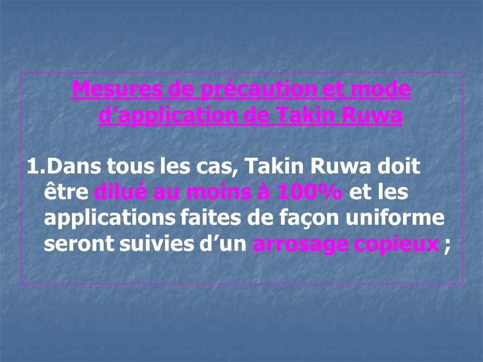 Mesures de précaution et mode d'application de Takin Ruwa