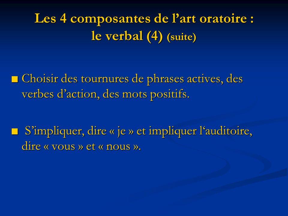 Les 4 composantes de l'art oratoire : le verbal (4) (suite)