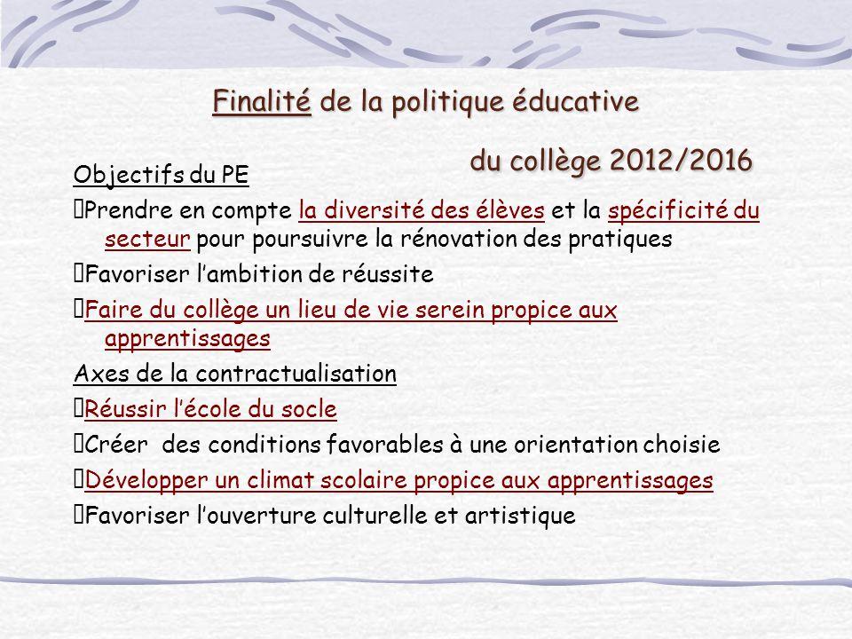 Finalité de la politique éducative du collège 2012/2016